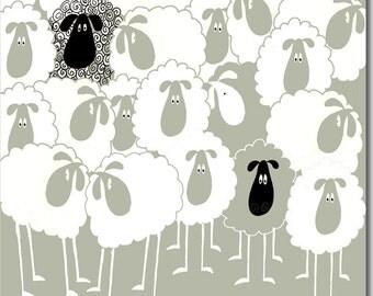 Hotch Potch Sheep Greeting Card (sage green)
