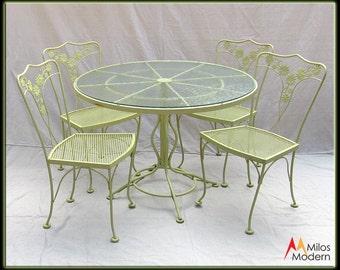 60s Mid Century Modern Woodard Yellow Cast Iron & Glass 5 Pc Patio Set NICE