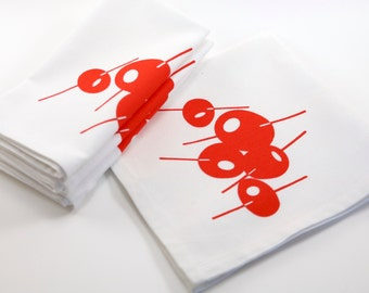 "Screen Printed Cloth Napkins. Set of 4. Red Olives. 100% Cotton. 18""x18""."