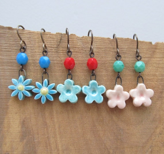 Tiny flower earrings ceramic flower earrings artisan for Gemsprouts tiny plant jewelry