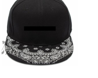 Black Paisley Snapback Hat, Black Hat, Fitted Hat, Paisley Hat