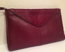 Vintage 80's Contessa Maroon Leather & Snakeskin Clutch Purse, Zippered Pouch Style Handbag, Excellent Clean Condition!