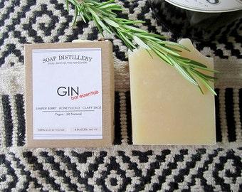 Gin Cold Process Soap Small Batch Juniper Clary Sage Honeysuckle Vegan All Natural Bar Essentials