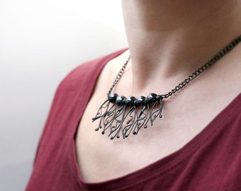 Hematite Statement Necklace, Black Gemstone Jewelry, Metal Lace Bohemian, Romantic, Aura Stone, One of a Kind