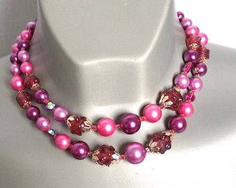 Vintage Pink Glass Bead Necklace,Double Strand Necklace,Choker Length Necklace,Multi Strand Necklace,Pink & Purple Necklace
