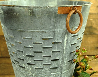Rustic Olive Grape Bucket Basket
