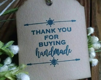 "Buy Handmade Hang Tags, small business, appreciation tags, sized 2 1/2"" x 2"", set of 12"