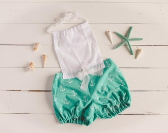 Photo Prop Nautical Romper 6-12 Month Sitter Photography Prop Baby Girl Props Beach Props Anchors Teal Green Sitter Infant Girl Romper