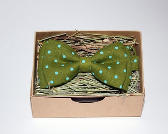 Moss green linen bow tie, Polka dot bow tie, Men's bow tie, Rustic bow tie, Wedding bow tie, Party bow tie