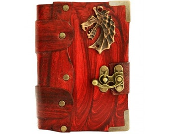 Dragon Head Pendant on a Red Extra Mini Leather Journal Notebook Daily Diary Sketchbook Pad Handmade Pocket Book Women Men Children Office