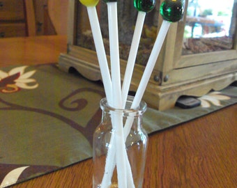 Set of 4 Vintage Lollipop Glass Swizzle Sticks