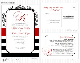 Striped Ready to Print Wedding Invitation Kit