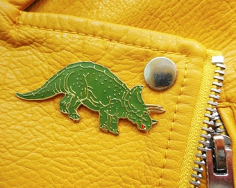 Vintage Retro Triceratops T-Rex Dinosaur Jurassic Pin Badge