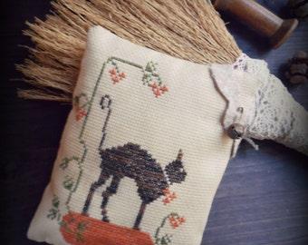 Old Cat primitive cross stitch