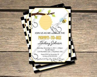 Ba-BEE Bumble Bee Baby Shower Invitation_Black and White Stripes - 5x7