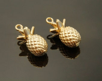 MARKDOWN, Pineapple charm, M7-G1, 2 pcs, 16x8mm, Matte gold plated brass, Pineapple pendant