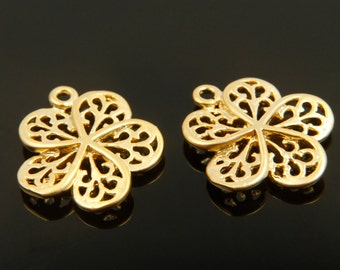 Flower charm, P2-G7, 4 pcs, 16.2x14.5mm, Matte gold plated brass, Flower pendant, Jewelry making