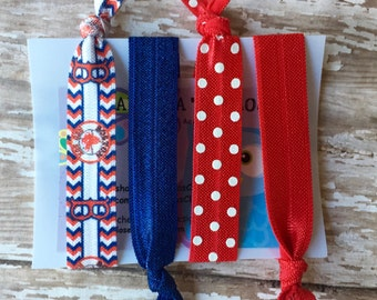 Set of 4 Red Sox & Mixed print Hair ties- Stretch elastic Hair ties Toddler, Girls, Woman