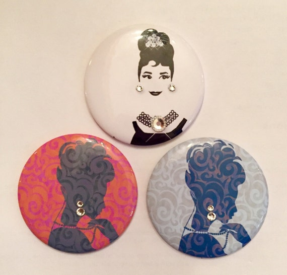 "2.5"" Round compact mirrors. Sold Individually. 3 design choices - 2 silhouettes and Audrey."