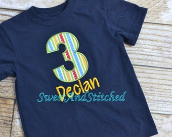 Boys 1st, 2nd, 3rd, 4th, 5th, 6th Birthday shirt - Personalized, Custom Birthday Shirt with Number Design - CHOOSE YOUR FABRICS!