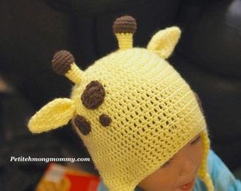 Giraffe Crochet Earflap Hat
