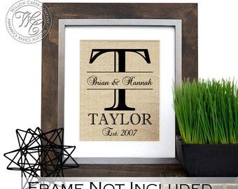 Personalized Wedding Gift,  Burlap Print, Burlap Last Name Print, Monogram Print, Wedding Date, Wedding, Engagement, Anniversary Gift