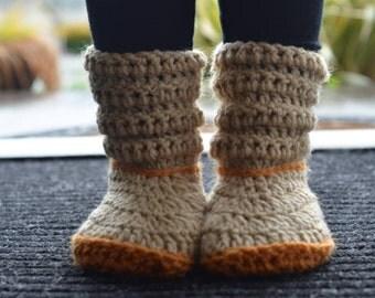 Crochet Two-Tone Slipper Socks