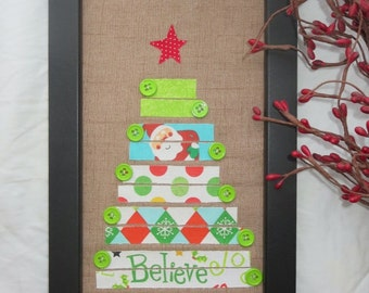 Believe Christmas Tree - Framed Wall Hanging