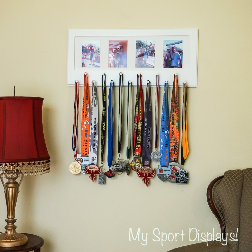 White Sport Medal Display With Photo Frame White Mat