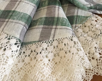 Round Linen Tablecloth Linen Lace Chaquered