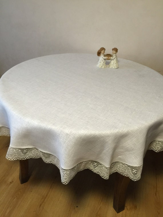 linen tablecloth round tablecloth linen lace white by rokasdarbi. Black Bedroom Furniture Sets. Home Design Ideas