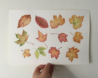 Autumn leaves Original watercolor painting,wall decor