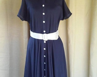 Vintage 80s Nautical Midi Dress Navy and White Size Medium