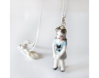mini kitty miniature porcelain doll necklace blue