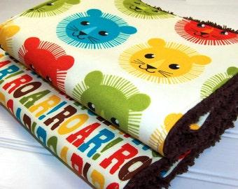 Lion and Roar Chenille Burp Cloths: set of 2 gender neutral chenille burp pads, zoo animals baby shower gift, lion burp cloth, roar burp pad