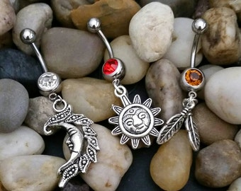 Lot of 3 Pieces - Tribal Sun, Moon and Feathers Dangling Belly ring body jewlery piercings navel rings piercing
