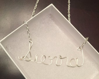WIRE NAME NECKLACE...Personalized & handmade name necklace, cursive name necklace, silver necklace