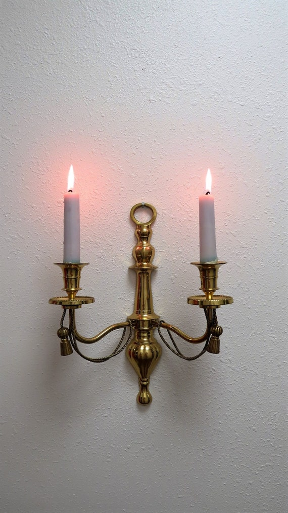 Vintage Brass Wall Candle Holder Wall Sconce Rope Tassel
