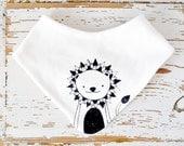 Baby Bib - Organic Cotton Jersey - White with Black Lion Print - Dribble Drool Teething Bandana Scarf