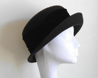 Vintage Brown Hat with Velvet Sash - Bowler, Derby Style Hat