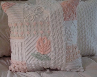 "REDUCED PRICE-Light Coral And White Patchwork Pillow Cover for 18"" Pillow Insert Was 35.00 Now 30.00"