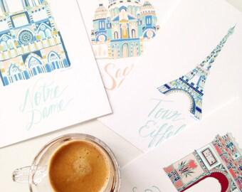Paris postcards set of 4. Illustrated paris prints. Eiffel tower. notre dame. nursery art.