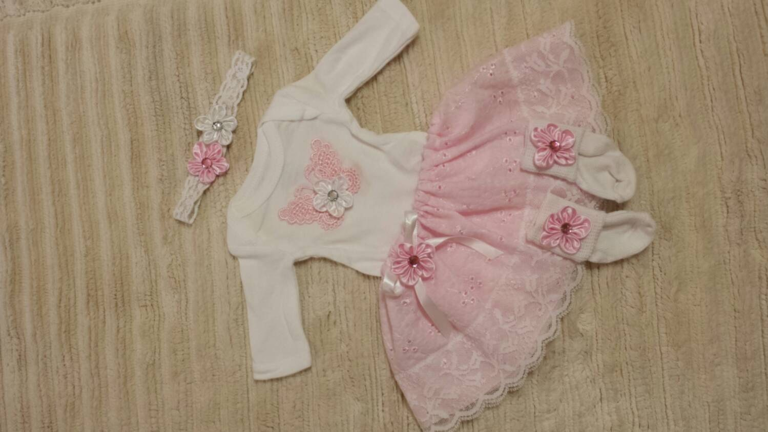 PREEMIE Girl 4 PIECES Home ing Outfit Pink Baby