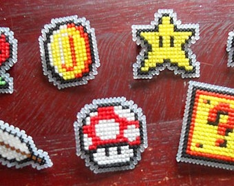 7 Pack of Cross Stitched Mario Power Ups Badges