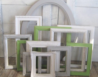 Mason Collection ~ Gray, White, Green Photo Frame Set ~ Gallery Wall Set ~ Nursery Frame Set ~ Shabby Chic ~ Wall Collage Upcycled Frames