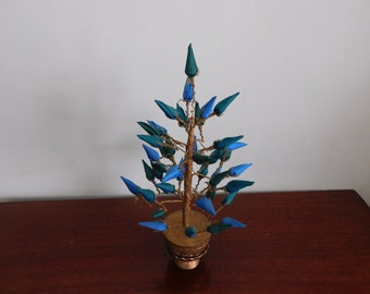 Vintage Fabric and Wire Asian Tree, Silk Blue and Green Rose Buds, Plastic Gold Base, Home Decor, Holiday Decor, Table Decor, Cottage Decor