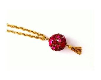 Vintage Gold and Pink Rhinestone Tassel Necklace