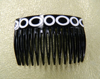 Vintage black white hair comb made in France