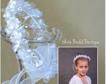 Communion wreath White hair wreath Holy communion wreath Girls crown Wedding hair wreath Communion hair flower White hair crown Hair garland