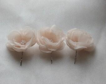 Set of 3 cream hair flowers Blush hair flower Ivory hair flower Champagne hair flower Pink hair flower Cream wedding flower Ivory hair pins